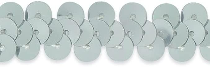 Expo International 20-Yard of 1-Row Metallic Stretch Sequin Trim, 3/8-Inch, Silver