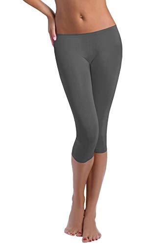 FUNGO Leggings Mujer 3/4 Pantalones de Yoga Deportivas Leggins Para Mujer (36, Grafito)