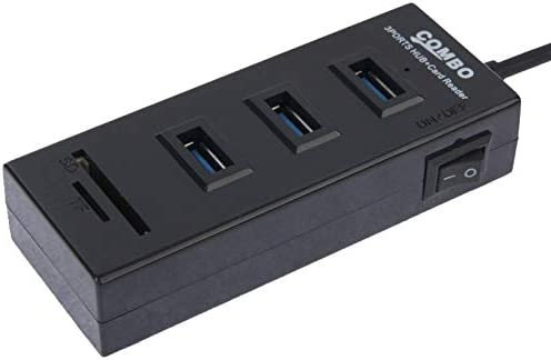 ,Easy to Carry Black Color : Black Cable Length: 80cm Normal 2 in 1 USB 2.0 TF//SD Card Reader /& 3-Port HUB