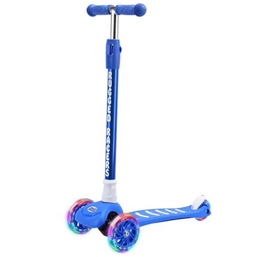 Rugged Racers Pro Kick Scooter for Boys & Girls 3 Wheel Scooter, Pro Kick Scooter for Kids with LED Light PU Wheels, Step Brake, Lean 2 Turn, Ride on Toys for Children 3 Year Plus (Blue)