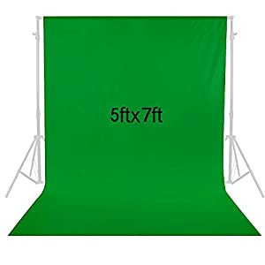 SJOLOON 5x7FT Green Screen Backdrop Collapsible Backdrop Muslin Backdrop for Television Video Photography Backdrop