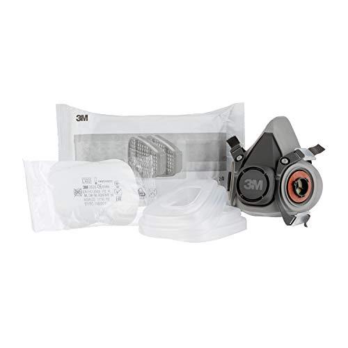 3M Mehrweg-Halbmaske 6002C - Halbmaske mit Wechselfiltern gegen organische Gase, Dämpfe und Partikel - Für Farbspritz- und Maschinenschleifarbeiten - 3