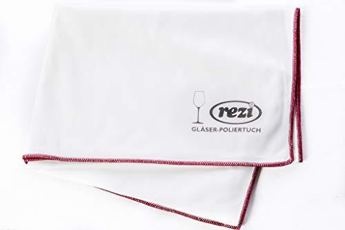 REZI Microfaserprodukte GmbH Gläser-Poliertuch, Weiß, Rot Umrandet, 47 x 60 cm