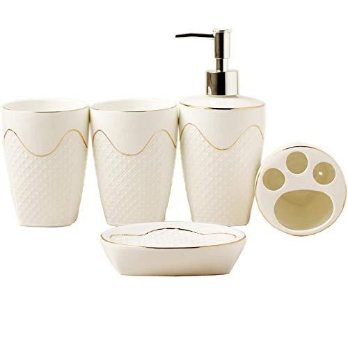 ZHQHYQHHX - Set di accessori da bagno, 5 pezzi, in ceramica marmo, facile da pulire, ideale per il bagno, decorazione da bagno, stile nordico, colore: bianco