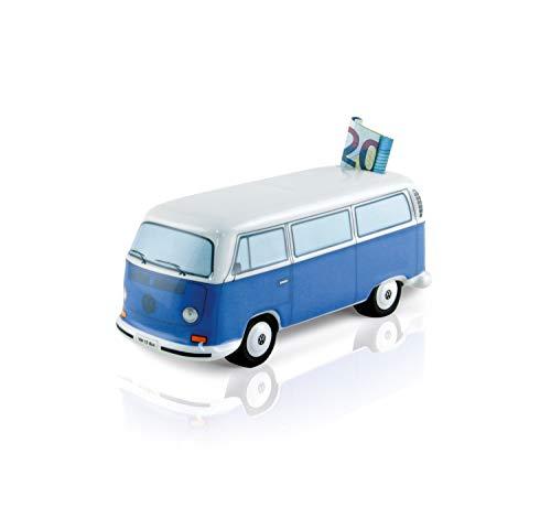 BRISA VW Collection - Volkswagen T2 Bulli Bus Spar-Büchse-Schwein-Dose, Geschenk-Idee/Fan-Souvenir/Retro-Vintage-Artikel (Keramik/Maßstab 1:22/Blau)