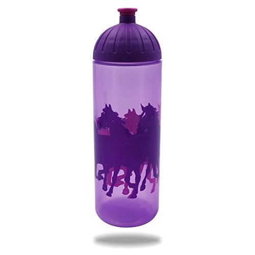 Original ISYbe Marken-Trink-Flasche für Kinder und Erwachsene, 700 ml, BPA-frei, lila Pferde-Motiv, geeignet für Schule-Reisen-Sport & Outdoor, Auslaufsicher auch mit Kohlensäure, Spülmaschine-fest