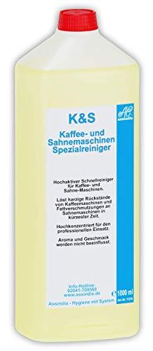 Assindia K+S Kaffee- und Sahnemaschinenreiniger Profi Spezialreiniger 1 Liter Flasch