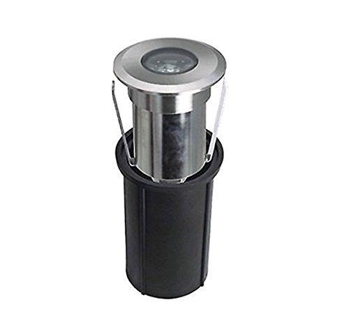 LineteckLED® - E02.003.02N Faretto led segnapasso da incasso in alluminio spazzolato 2W 12V 4500K luce naturale 180 lumen IP65 per esterno per percorsi luminosi