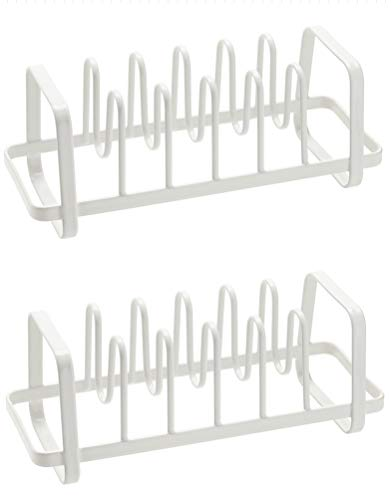 6 Compartments Pan and Pot Lid Organizer Rack Holder white2 Pack
