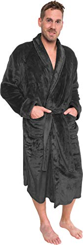 Ross Michaels Mens Plush Shawl Collar Kimono Bathrobe Robe (Grey, L/XL)