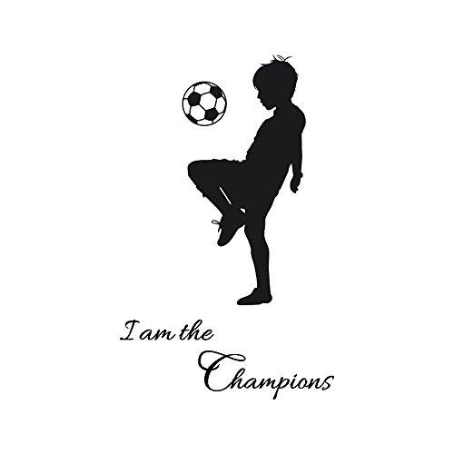 """Wall Stickers Calcio Frasi """"I Am The Champions"""" Bambini Diy Cameretta Salotto Camera Cucina Adesivi Murali Rimovibile Impermeabile Arte Carta Da Pareti Decorazione Murales,Harpily"""