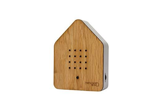 Zwitscherbox Holz, Eiche/Weiß, 11x 12x 3cm