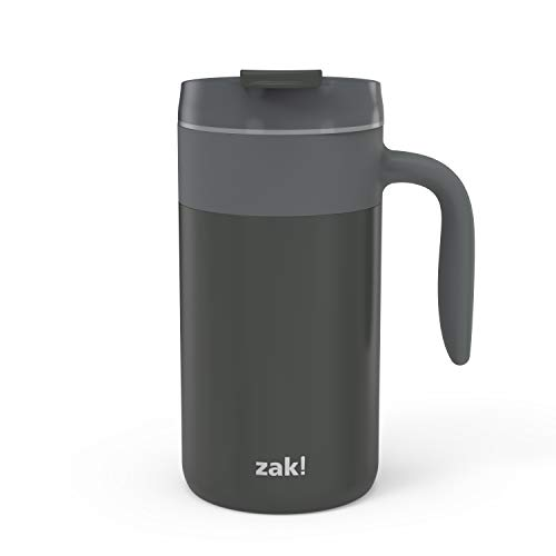 Zak Designs Aberdeen Stainless Steel Double Wall Vacuum Insulated Mug with Handle and Leak Proof Flip Top, Ergonomic Handle Coffee Mug with Screw on Lid is Easy to Clean (20oz, Charcoal,18/8,BPA Free)