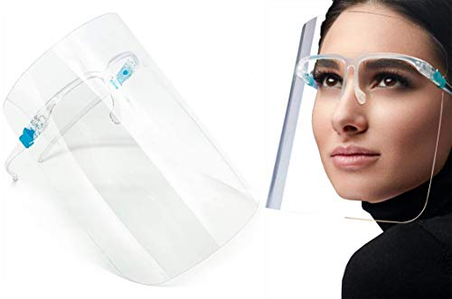Fashionable Face Shield Visor with Glasses - Comfortable - Fog Resistant - 10 Pack