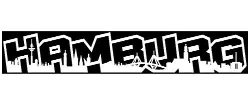 Samunshi® Aufkleber Hamburg Graffiti Schriftzug Skyline in 8 Größen und 25 Farben (20x3,3cm weiß)