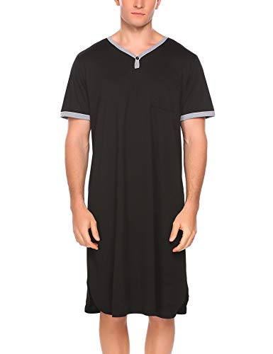 Ekouaer Mens Nightshirt Long Kaftan Nightgown Short Sleeve Sleepwear (A-black, X-Large)