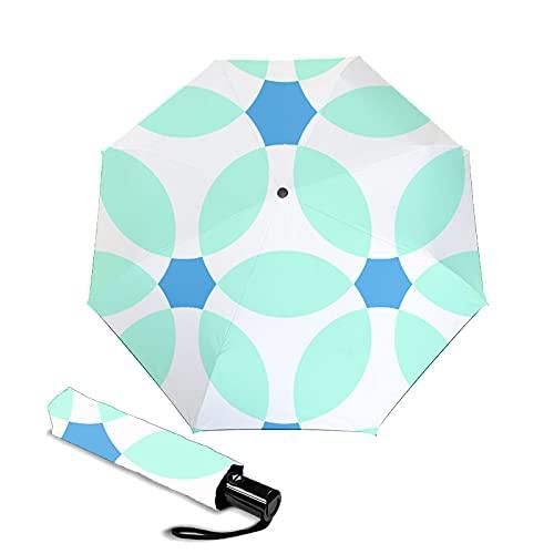 Paraguas Automático de 3 Pliegues, Prueba de Viento Paraguas para Niño Hombre Mujer, 8 Costillas, Recubrimiento de Secado Rápido 210T, 108 cm de Diámetro