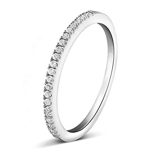 Anillo de mujer retro de una hilera de diamantes incrustados anillo cerrado simple joyería plata 6 (US)