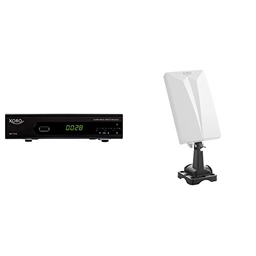 Xoro HRT 7619 FullHDHEVC DVBT/T2ReceiverSchwarz & HAN 600 DVB-T2 aktive Kombo Antenne mit eingebautem Verstärker (LTE Rauschfilter, 3,5m Anschlusskabel, für Außen und Innen) weiß