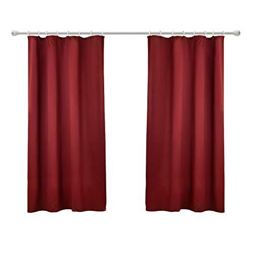 WOLTU #489-2, 2er Set Gardinen Vorhang Blickdicht mit kräuselband für schiene, leichte & weiche Verdunklungsvorhänge für Wohnzimmer Schlafzimmer Tür, 135x175 cm, Bordeaux