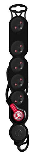 Bloc Home - Regleta (6 x 16A + interruptor, cable HO5VVF 3G1, 1,5 m, con enchufe extra plano), color negro