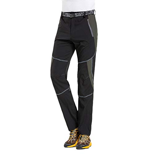 Angyu Unisex Ligero Pantalones Trekking Senderismo Impermeables Outdoor Transpirable Pantalones de Secado Rápido (Negro 2(Hombres), 3XL)