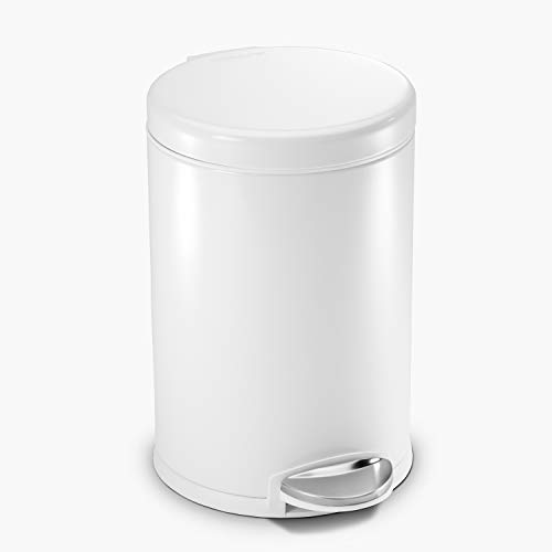 simplehuman 4.5 Liter / 1.2 Gallon Round Bathroom Step Trash Can, White Steel