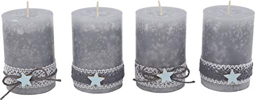 ZauberDeko 4 Adventskerzen Kerzen Stumpenkerzen Grau Stern Blau Spitze Weihnachten Advent Deko Weihnachtsdeko