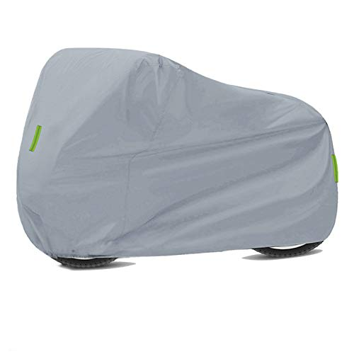 Moto Impermeable Universal Motorcycle Cubiertas Protección Impermeable Polvo 210D Oxford Paño Impermeable Motocicleta al Aire Libre Cubierta de Lluvia Exterior (Color : Silver M)