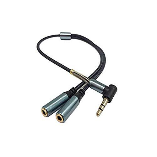 Cable Divisor de Audio, Haokiang Chapado en Oro de 90 Grados ángulo Derecho 3,5 mm Macho a 2 Hembra Jack Auriculares estéreo Y Divisor Adaptador Cable para tabletas, Reproductores de MP3
