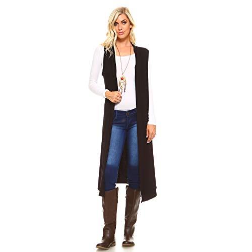 Isaac Liev Women's Sleeveless Lightweight Duster Vest (X-Large, Black)