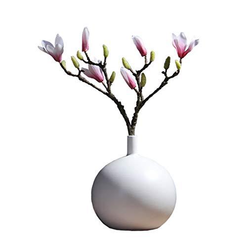N / A Floreros de ceramica, 20 cm, Color Blanco Moderna Hecha a Mano florero Decorativo, esferica florero para la decoracion, Mesa de Comedor de los decoros, Boda, Centro de Mesa o como Regalo