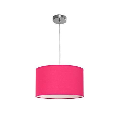 TODOLAMPARA Lámpara colgante de tela modelo Nicole color Fucsia 1 bombilla E27 30cm diámetro altura regulable