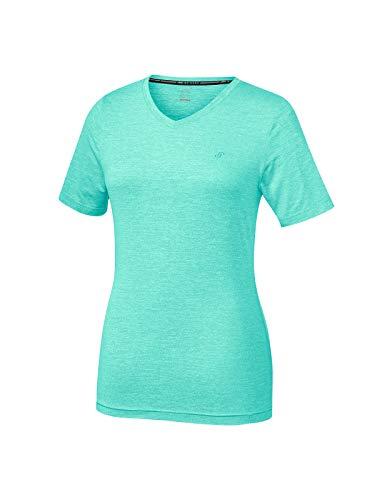 Joy Sportswear Zamira T-Shirt für Damen aus atmungsaktivem Elasthan, Hochwertiges Sportshirt im Kurzarm-Schnitt mit elegantem V-Ausschnitt 40, Mint Melange