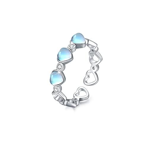 Anillo de piedra lunar de corazón, anillo de corazón de plata de ley 925, anillo abierto ajustable para mujer, anillo de dedo, joyería de piedra lunar para niñas, mujeres, niños