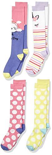 Amazon Brand - Spotted Zebra Kids Girls Cotton Knee Socks, 4-Pack Cats and Unicorns, Large