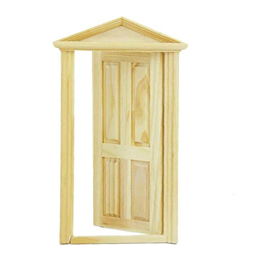 Mini Toys Hose Door Kids DIY Decor Exterior Solid Wood Door with Steepletop for Kids Adults Yellow Kids Toys Children's Day Gifts