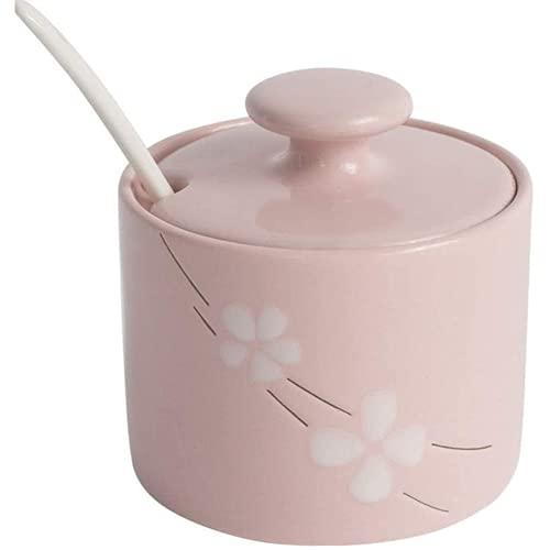 Mlcjva kryddor parfymbehållare keramisk sås kruka, täckt sked, används för kök socker och salt kruka