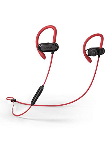 Wireless Bluetooth Headphones, Soundcore Spirit X Sports Earphones by Anker, Bluetooth 5.0, 12-Hour Battery, IPX7 Wireless Earbuds, Noise Isolation, SweatGuard Technology for Workout (Red)