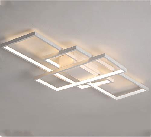 LED Deckenleuchte Dimmbar mit Fernbedienung Wohnzimmerlampe, Modern Eckig 3-Ring Design Acryl Kronleuchter Metall Deckenstrahler für Schlafzimmer Esszimmer Küche Bad Decken Lampe L90*W50*H9cm (Weiß)