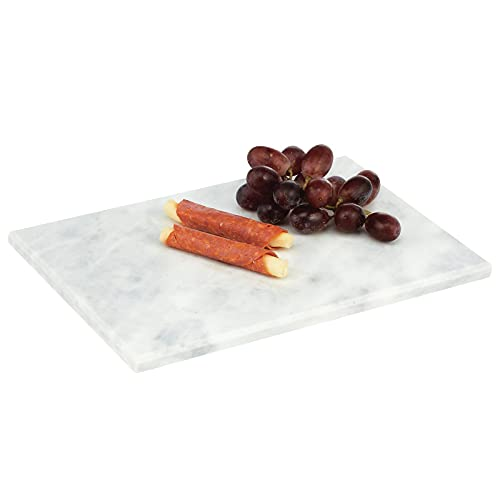 mDesign Modern Marble Pastry Board, Cutting Board, Serving Tray - for Food, Tea, Coffee, Breakfast, Snacks, Cheese, Appetizers - Use in Kitchen, Bathroom, Office - White Marble