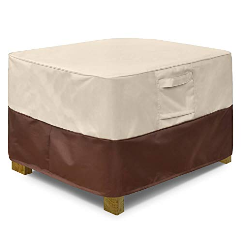 Vailge Square Patio Ottoman Cover, Waterproof Outdoor Ottoman Cover with Padded Handles, Patio Side...