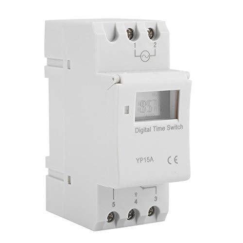 Relaiszeitschalter, Yevenr 16A Programmierbar 8 Schalter Schalter Timer Schalter Langlebiger digitaler LCD-Schalter Weiß(AC110V)