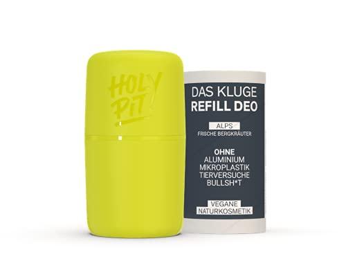 HOLY PIT - REFILL DEO I Das kluge Nachfüllsystem aus Österreich I Unisex Deo Herren Deo Damen (Starterpack SOLO (1x Case + 1x Refill), Case (LIME) Refill (ALPS))