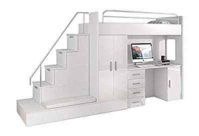 High Sleeper Modern Set with Wardrobe Desk and Cabin Bed with Mattress Trundle Bed High Gloss Inserts Assembly LUNA 5K