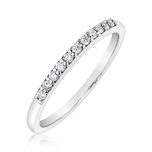 MILLE AMORI ∞ - Anillo de compromiso para mujer de oro y diamante ∞ de oro blanco de 9 quilates 375 diamante de 0,11 quilates
