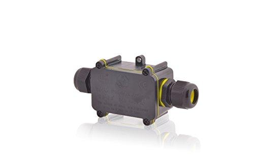 Verteilerdose Wasserdicht | IP68 | 24A 450V AC | 2 Öffnungen | Kabelquerschnitte: M20 5-9mm | Installationsgehäuse Wege Dosenmuffe Verbindungsdose Erdkabel Verbindungsbox Verbindungsmuffe