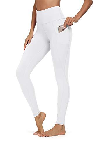 Jouica Womens High Waist Pockets Yoga Pants Running Pants Workout Leggings,White,Medium