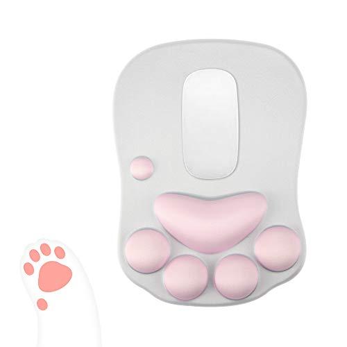 Phonleya Alfombrilla de ratón con Forma de Pata de Gato con Soporte para muñeca - Dibujos Animados portátil Diseño Lindo y Divertido 10,61 X 7,86 X 0,86 Pulgadas (L X W X H)