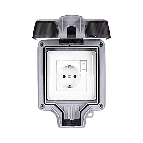 Enchufe impermeable exterior IP66 impermeable exterior, antipolvo, tomas eléctricas para cuarto de baño, pared, jardín para interior y exterior (con interruptor)